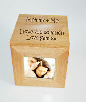 Personalised Oak Wooden Photo Box Keepsake Cube Box Engraved - Mommy & Me