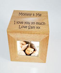 Personalised Oak Wooden Photo Box Keepsake Cube Box Engraved - Mommy & Me