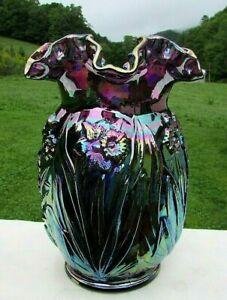 """Fenton Amethyst Carnival Glass Daffodil Vase 8""""H x 6.25""""W HTF 1970's"""
