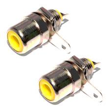 2 Fiches RCA Femelle CHASSIS Repérage JAUNE Métal Nikelé Connections à Souder