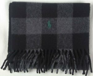 Polo Ralph Lauren Grey Black Plaid Wool Scarf Green Pony NWT