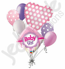 7 pc Baby Girl Baby Stripes & Polka Dot Balloon Bouquet Welcome Home Shower Pink