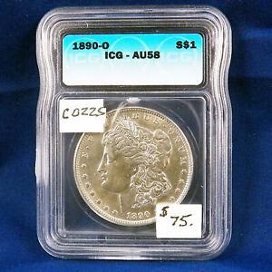 1890 O Morgan Silver Dollar, ICG AU58, Graded in Holder,  Premiium , Slider