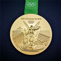 Brazil Gold Medal 2016 RIO DE Olympic Souvenir with Commemorative Ribbon Gift