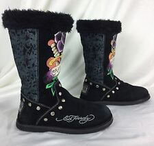 ED HARDY Christian Audigier floral suede faux sherpa/fur boots . eu37 women's 6