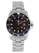 MENS LA BANUS SUBMARINER WATCH STAINLESS STEEL BLUE & BLACK DIAL PARNIS DATE