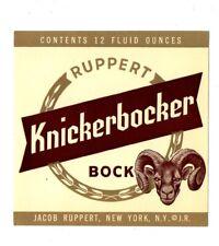 1950s JACOB RUPPERT BREWING CO, NEW YORK KNICKERBOCKER BOCK BEER LABEL