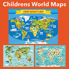 CHILDREN'S WORLD MAPS POSTERS UPTO A0 SIZE,  FRAMES AVAILABLE