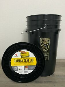 NEW Premium 7 Gallon Bucket with Gamma Seal Lid, HDPE, Black FREE SHIPPING