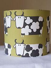 20cm FABRIC DRUM LAMPSHADE iLiv MOO COW ANIMAL COTTAGE FARM KIWI GREEN SCANDI