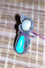 Womens Size 5 Turquoise Mother of Pearl Ring Old Pawn Cowgirl Western Jewelry 6