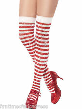 Sexy Red & White Candy Striped Sparkle Glitter Thigh High Stockings Fancy Dress