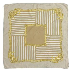 UNBRANDED STRIPES BEIGE GOLD CAMPASS LARGE silk Scarf  34 in #A102