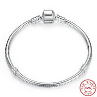 925 Sterling Silver Charm Bracelet Women Fashion Snake Chain Bracelet Bangle