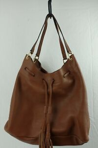 """Vince Camuto Brown Leather Hand Bag Tassels Women's Purse 13"""" x 11"""""""