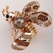 Bee Stretch Ring Cute Animal Bling Sacrf Jewelry Gift Dropship gold 5