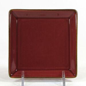 "Pottery Barn ASIAN SQUARE - PAPRIKA 4.5"" Coaster Tidbit Plate Brown Trim Japan"