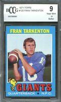 1971 topps #120 FRAN TARKENTON new york giants BGS BCCG 9