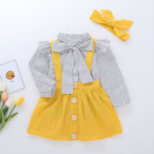 3PCS/Set Toddler Kids Baby Girl Polka Dot Tops Dresses Skirts Outfit Clothes Set