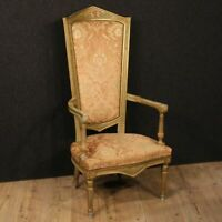 Poltrona veneziana trono laccato dipinto sedia velluto stile antico salotto 900