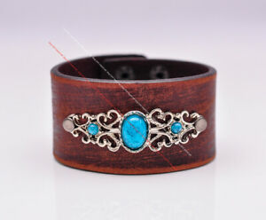 Vintage Texture Turquoise Flower Decor Wrap Leather Bracelet Wristband Wide Cuff