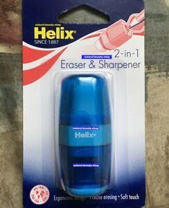 Helix 2 in 1 Pencil Sharpner & Eraser Sealed Pack, BLUE Colour✏️✏️✍️✏️✏️