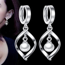 Women White Gold Plated Pearl Hook Drop Dangle Earring Wedding Fashion Jewelry