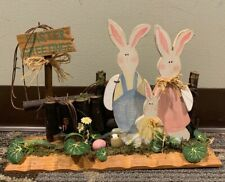 Easter Greetings Wood Display Bunnies