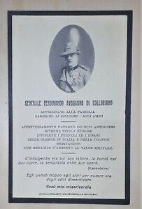 Biglietto Commemorativo Generale Ferdinando Avogadro Collobiano - Medaglia 1904