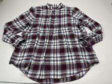 Lands End Women Flannel Plaid Shirt Button Long Sleeve 18 Popover Top Tunic