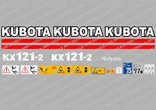 Kubota KX121-2 Mini Gräber komplett Abziehbild Satz mit Sicherheit Warnzeichen