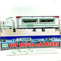1997 Hess Toy Truck and Racers w/ Friction Motors Working Head & Tail Lights