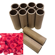 "10 Fireworks Kraft Tubes Firecracker 1"" x 4"" x 1/8"" Convoluted w/20 Plastic Caps"