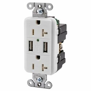 Hubbell White Tamper Resistant Receptacle Outlet w/USB Charger 20A USB20X2W