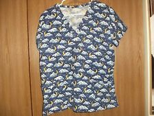 ladies size (L) handmade short sleeve clouds and cresent moons scrub top