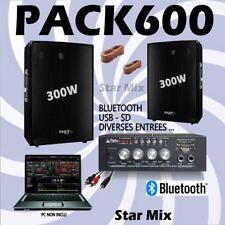 PACK SONO 600 + AMPLI + 2 ENCEINTES 300W PA DJ SONO LED LIGHT CLUB BAR SOIREE