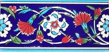 "4""x8"" (10cmx20cm) Iznik Red Carnation & White Daisy Pattern Ceramic Tile Border"