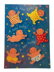 NEW BABY Large Contemporary Bright Blue Red Yellow Birth Greetings Card