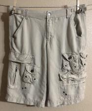 Da Nang Surplus Cargo IndoChine Silk Shorts Size Small Tan/Khaki
