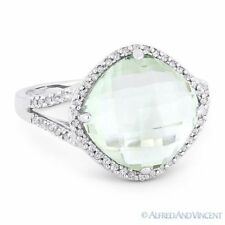 Diamond Right-Hand Ring in 14k White Gold 4.84 ct Cushion Cut Green Amethyst &