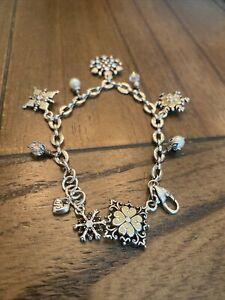 Brighton Ice Diamond Snowflake Pearl Charm Bracelet