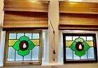 PAIR ANTIQUE STAINED LEAD GLASS WINDOWS ARTS   CRAFTS BUNGALOW ROSES Over Under