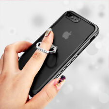 for iPhone 7+ PLUS - Black Clear Diamond Bling Ring Holder TPU Rubber Case Cover