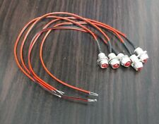 5 BBT 12 volt Red LED Indicator Lights in Chrome Metal Bezel