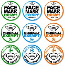 1 x Exempt from Wearing Face Covering 32mm BUTTON PIN BADGE Medical Health Alert