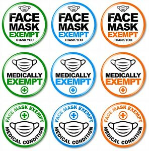 1 x Exempt from Wearing Face Cover 32mm BUTTON PIN BADGE Medical Vaccinated Safe