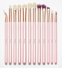 Qivange Eye Brushes Set Makeup Brush Kit with Pouch 12pcs Pink With Rose Gold