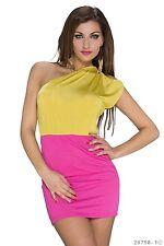 SALE !Sexy Mini-Kleid Sommerkleid One-Shoulder Trägerkleid Gr. L 38/40 Gelb/Pink