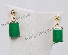 Fashion 12x20mm Natural Green Jade Dangle Hook earrings AAA Grade