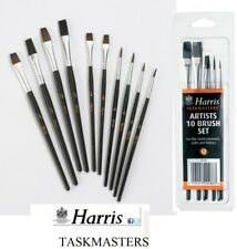 10 HARRIS ARTISTS PAINT BRUSHES SET TASKMASTER FINE PAINTWORK ART CRAFT HOBBIES